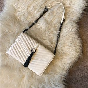 White Shoulder Chain Bag , Black Tassel